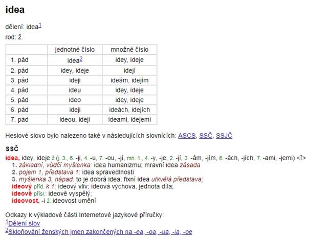 Internetová jazyková příručka – ukázka (heslo idea)