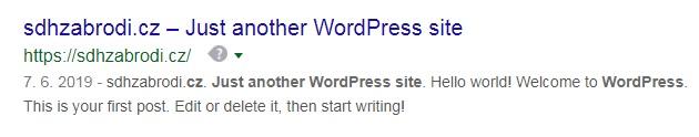 Just another WordPress site – ukázka, jak to vypadá, když nevyplníme meta tagy