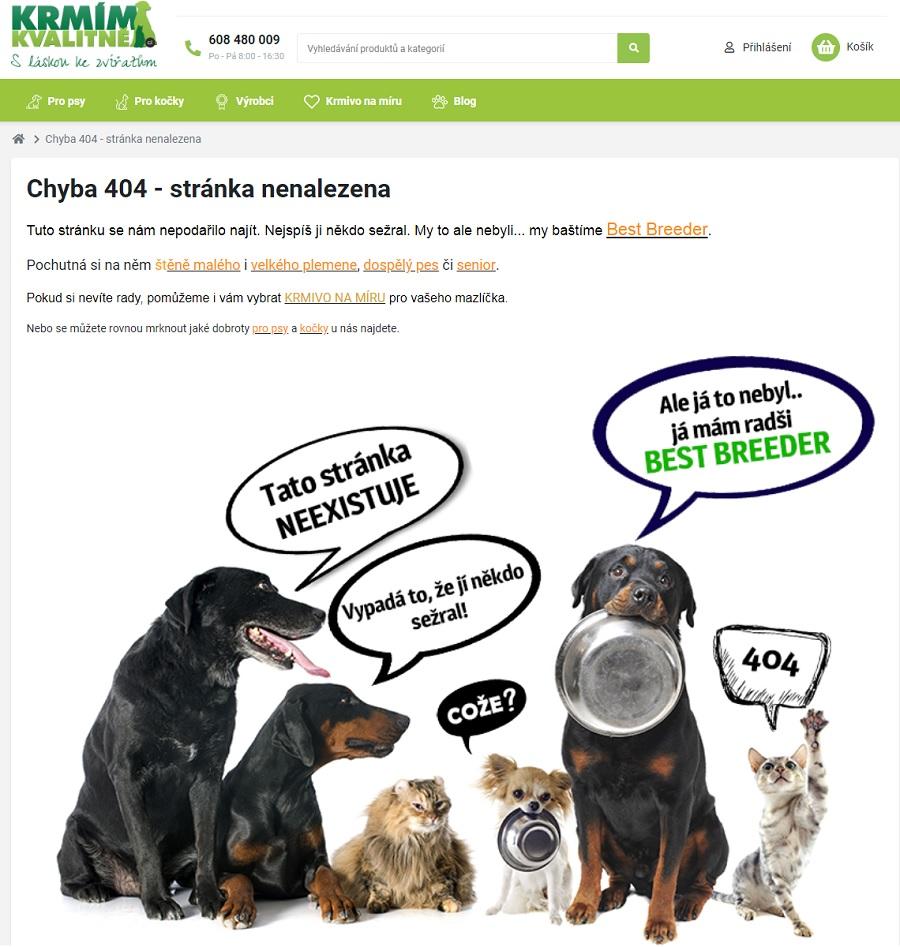 Originální chybová stránka 404, kterou připravili tvůrci e-shopu krmimkvalitne.cz