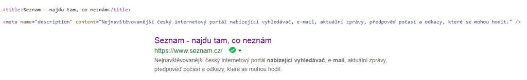 Ukázka práce s meta daty (description a title) na webu Seznam.cz