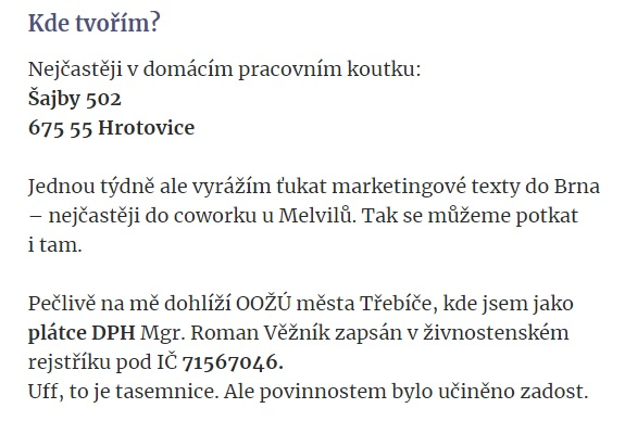 Povinné údaje, které musí podnikatel na svém webu uvádět (z webu veznik.cz)